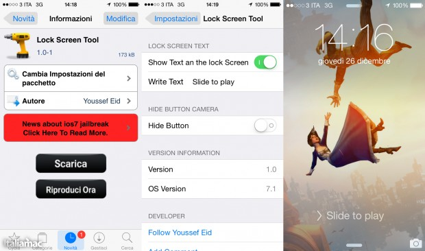 Lock Screen Tool 620x366 Evasi0n7, Cydia per iOS 7 e tweak utili: Jailbreak wrap up