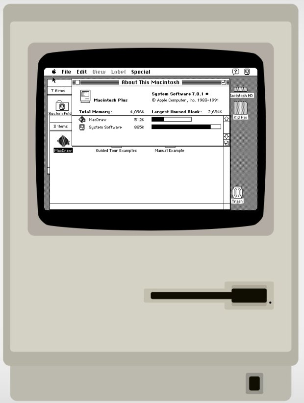 Emulatore web di un Mac Plus con System 7 620x822 Emulatore web di un Mac Plus con System 7 che funziona davvero