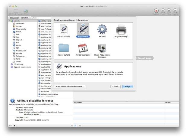 """automator screenshot 620x456 Mini tutorial: Creare un'applicazione con """"Automator"""" per uscire da tutte le App aperte."""