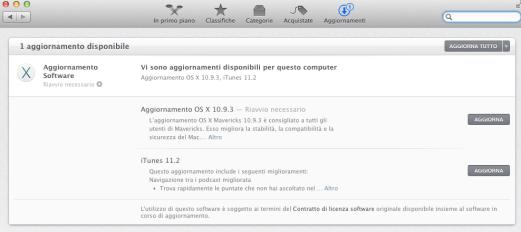 itunesmavericks1 620x276 E disponibile un nuovo aggiornamento di OS X Mavericks alla versione 10.9.3