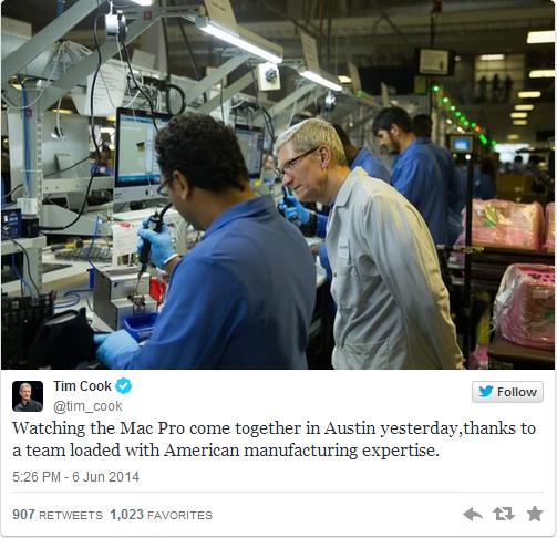 timcook Tim Cook condivide la sua esperienza nello stabilimento di Austin su Twitter
