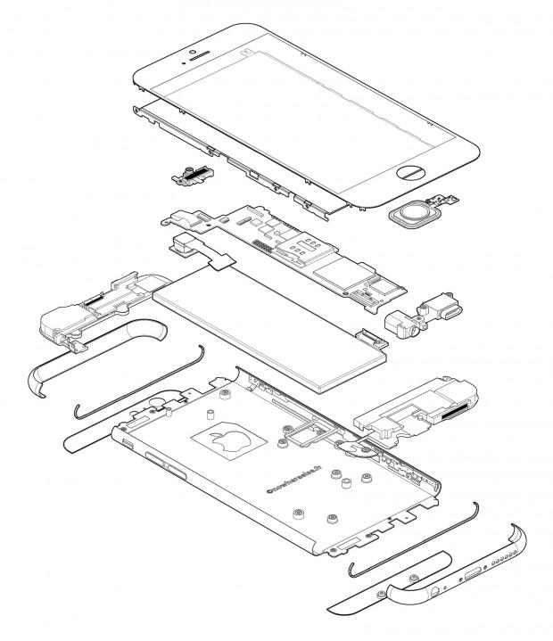 BW Exploded iPhone 6 620x719 Un Infografica che sintetizza tutti i Rumors sul nuovo iPhone 6