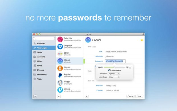 Locko password manager and file vault 1 620x387 Locko   password manager per Mac oggi gratis invece che €17,99
