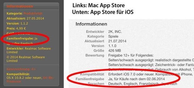 familysharing 620x280 Apple sta testando l'opzione Family Sharing di iOS 8, introducendo un'apposita etichetta all'interno delle pagine iTunes delle varie applicazioni