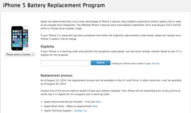 iphone5 batteria 620x368 Apple avvia un programma di sostituzione gratuita della batteria per iPhone 5
