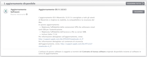 Schermata 2014 09 18 alle 08.34.40 620x243 Apple ha reso disponibile OS X Mavericks 10.9.5