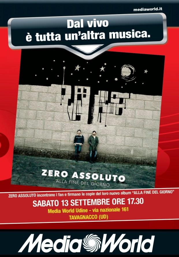 ZERO ASSOLUTO UDINE 620x890 Zero Assoluto da Media World a Udine il 13 settembre