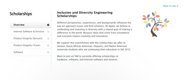 applejobsdiverità 620x271 Apple promuove una nuova borsa di studio per gli studenti universitari