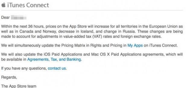 Comunicazione Aumento di prezzo App Store 620x293 Prezzi in aumento su App Store e Mac App Store entro le prossime 36 ore