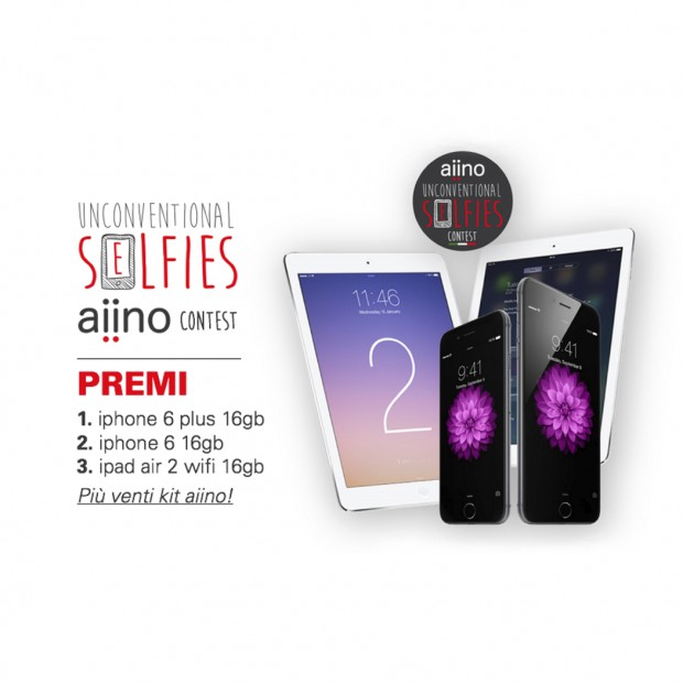 aiino1 620x620 Aiino: vuoi vincere un iPhone 6 Plus, un iPhone 6, un iPad Air 2 ? Scattati un Unconventional Selfie e partecipa al concorso!