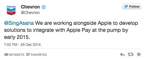 chevroncarburante I residenti di New York saranno in grado di pagare i biglietti del parcheggio e il carburante, utilizzando Apple Pay
