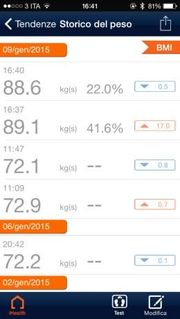 iHealthApp1 620x1102 iHealth Wireless Body Analysis Scale, bilancia smart per tutti