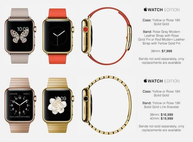 apple watch prezzi2 620x457 LApple Watch Edition, potrebbe assorbire un terzo di tutto l'oro estratto ogni anno