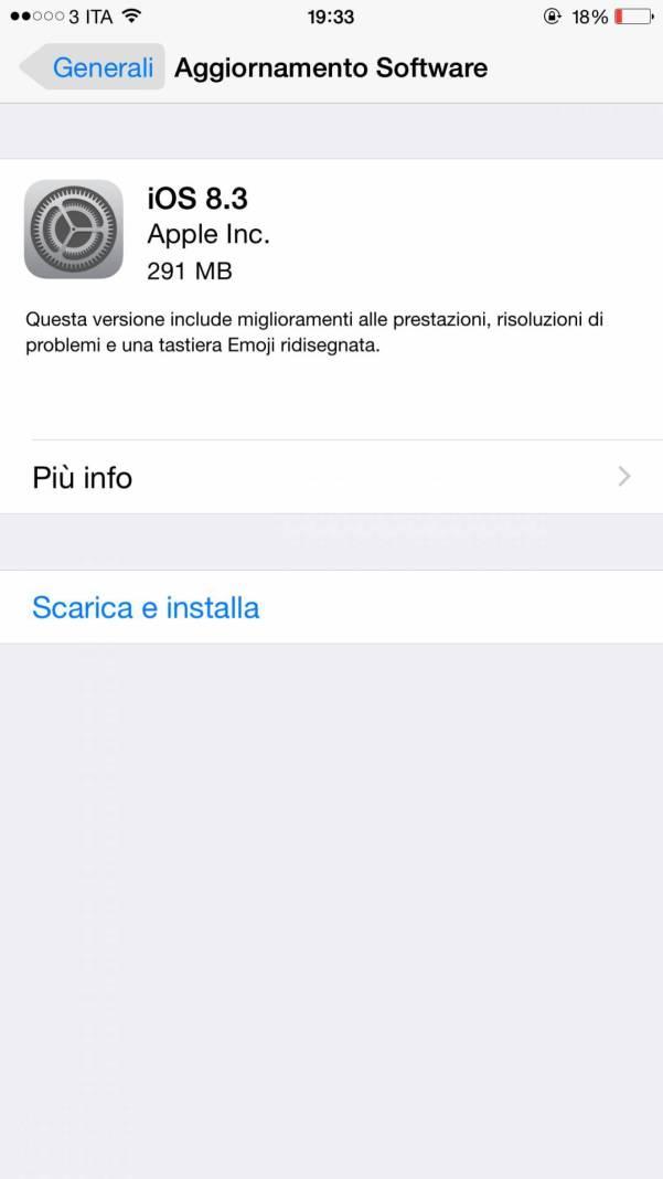ios 8.3. Disponibile il nuovo aggiornamento iOS 8.3