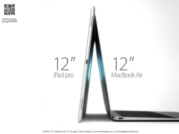 ipad pro vs twelve inch macbook air martin hajek render 005 620x466 LiPad Pro con 2,732 x 2,048 di risoluzione appare in fase di test