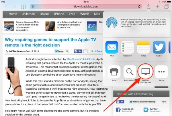 ios 9 request desktop site ipad screenshot 002 Come richiedere la versione di un sito desktop in Safari con iOS 9