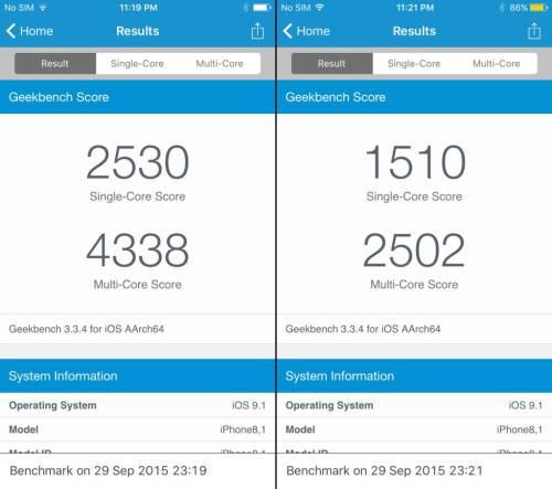 low power mode ipone 6s benchmarks 2 1024x908 iPhone 6s con risparmio energetico attivo ha performance pari ad un iPhone 5s