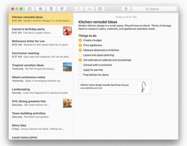 notes checklist 10 nuove interessanti funzioni introdotte in OS X El Capitan