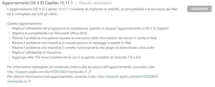 schermata 2015 10 21 alle 21.33.45 Rilasciato OS X El Capitan 10.11.1