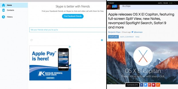 screen shot 2015 09 30 at 2 34 55 pm 620x310 Skype aggiornato per supportare la Split View di OS X El Capitan