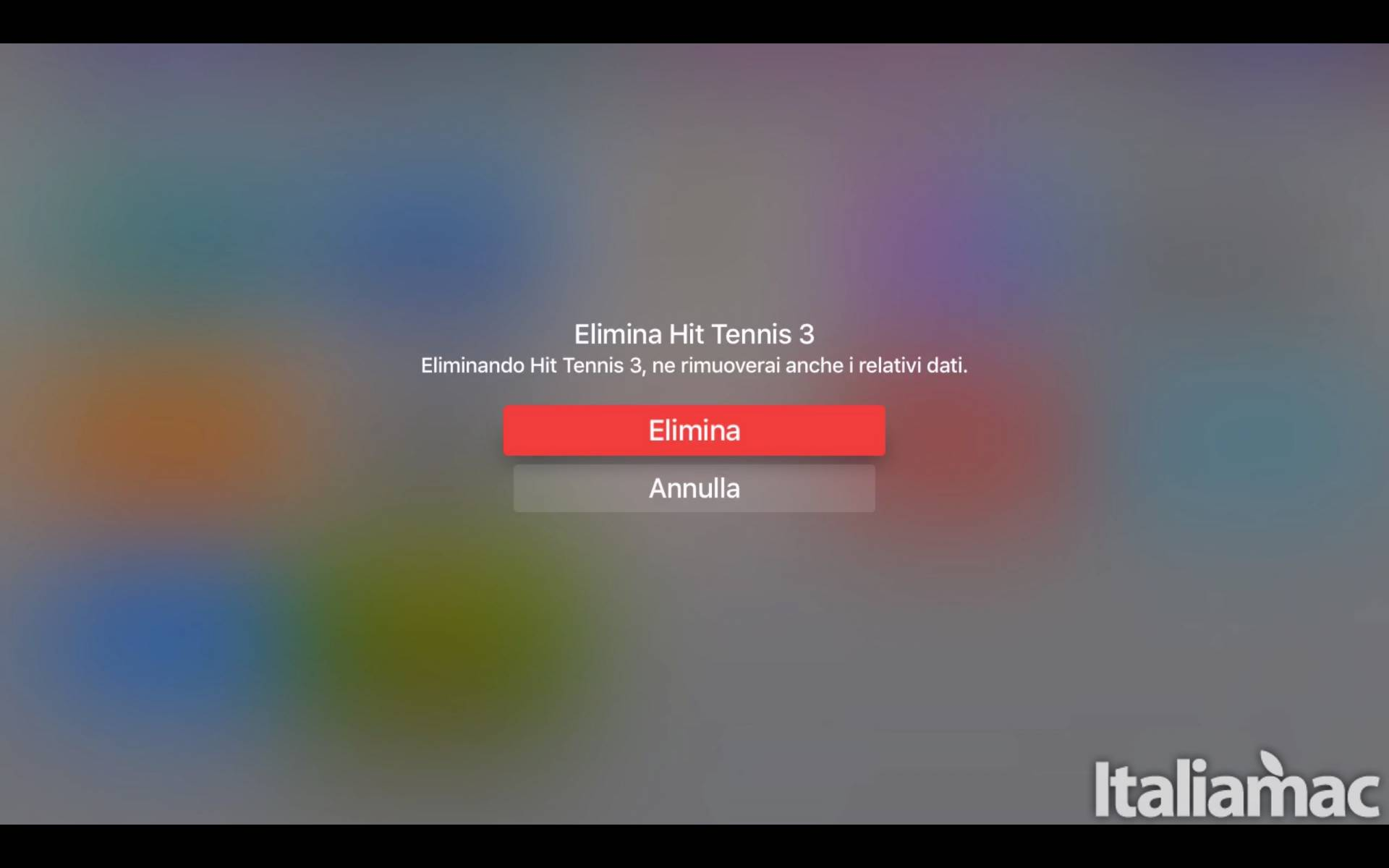 schermata apple tv eliminazione Come eliminare un app da Apple TV