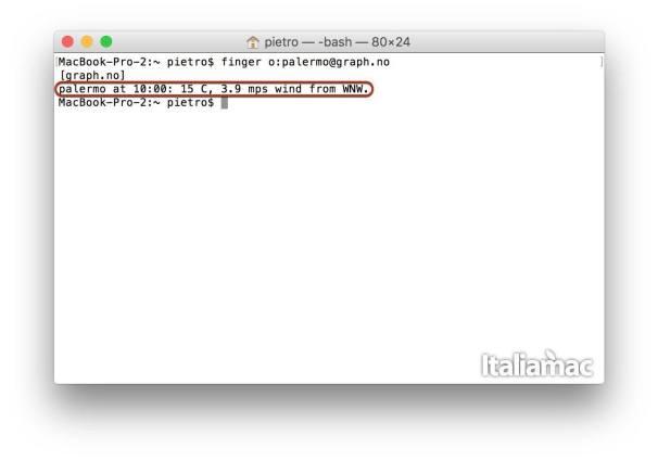finger meteo compatto Previsioni meteo da linea di comando su OS X