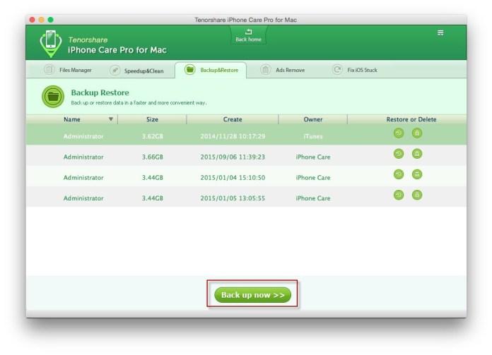 backup idevice Tenorshare iPhone Care Pro: proteggi, ripara e velocizza il tuo iPhone