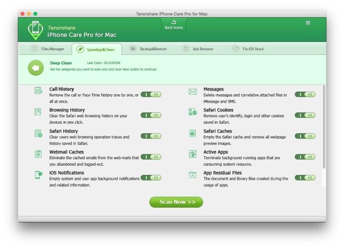 deep clean scan Tenorshare iPhone Care Pro: proteggi, ripara e velocizza il tuo iPhone