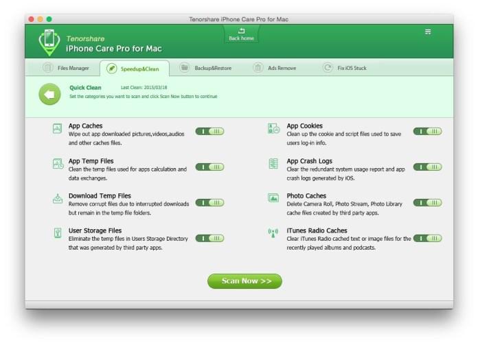 quick clean scan Tenorshare iPhone Care Pro: proteggi, ripara e velocizza il tuo iPhone