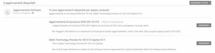 schermata 2016 09 02 alle 09.49.11 Rilasciato nuovo aggiornamento di sicurezza per OS X e Safari