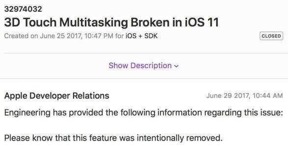 %name Apple conferma la rimozione dellapertura del multitasking tramite 3D Touch in iOS 11