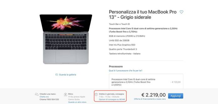 italiamac italiamac schermata 2018 05 26 alle 10.59.56 1 Slitta la data di consegna di alcuni MacBook Pro al 7 Giugno