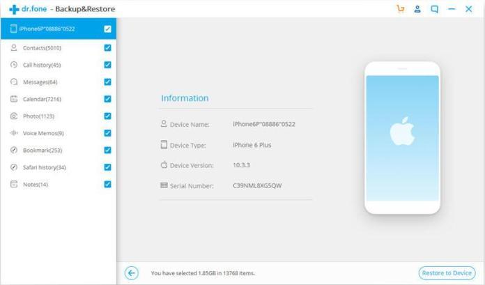 italiamac drfone itunes backup restore 2 Trasferisci tutti i file dal computer alliPhone XS (Max) con o senza iTunes
