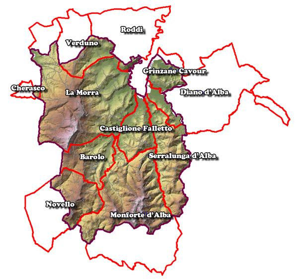バローロDOCGの11コミューン地図