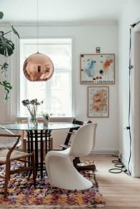scandi boho apartment, scandi boho style, home tour denmark, tom dixon copper lamp, boucheroite colourful rug, different chairs table