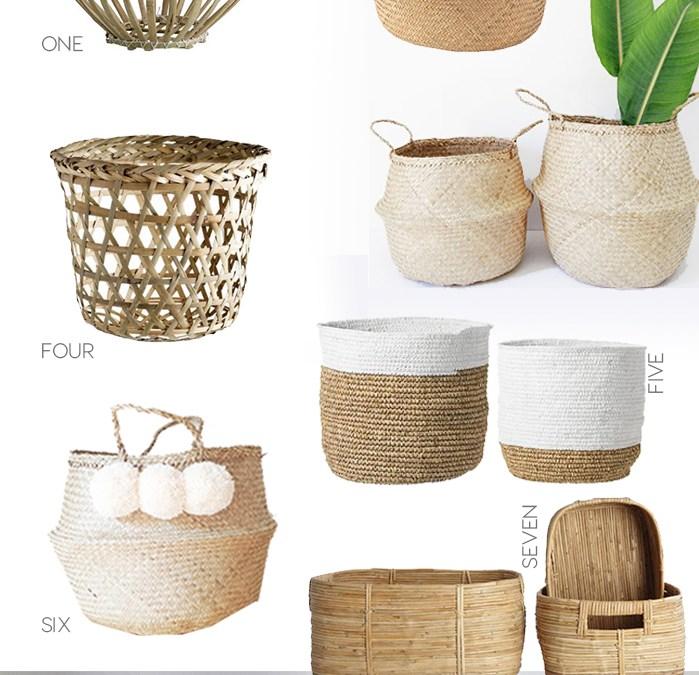 bohemian baskets planters, wicher baskets, rattan trend, italianbark interior design blog, jungalow trend