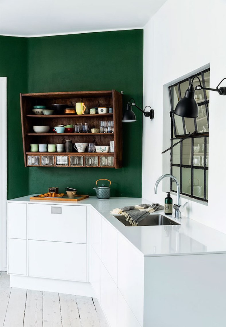 Kitchen with Green Accent Wall