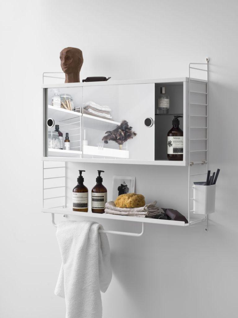 string system bathroom shelves, minimalist bathroom design