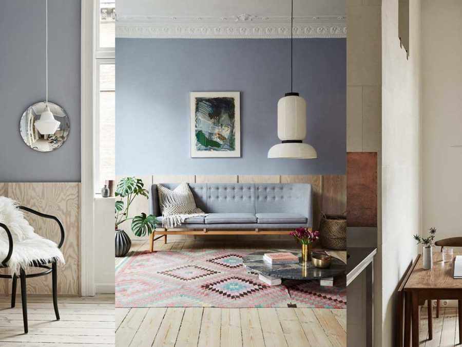 Scandinavian interior with raw surfaces and light blue walls