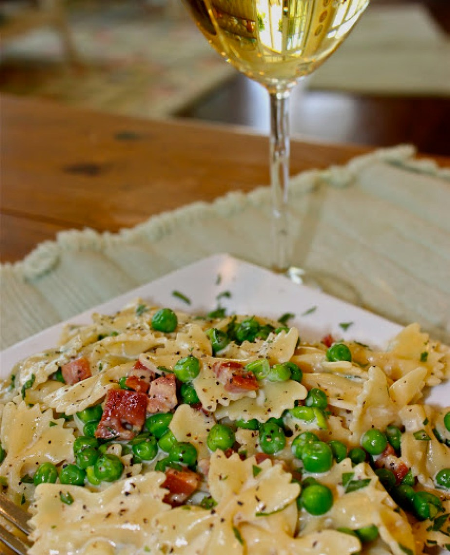 Farfalle Carbonara with Pancetta and Peas - La Bella Vita ...