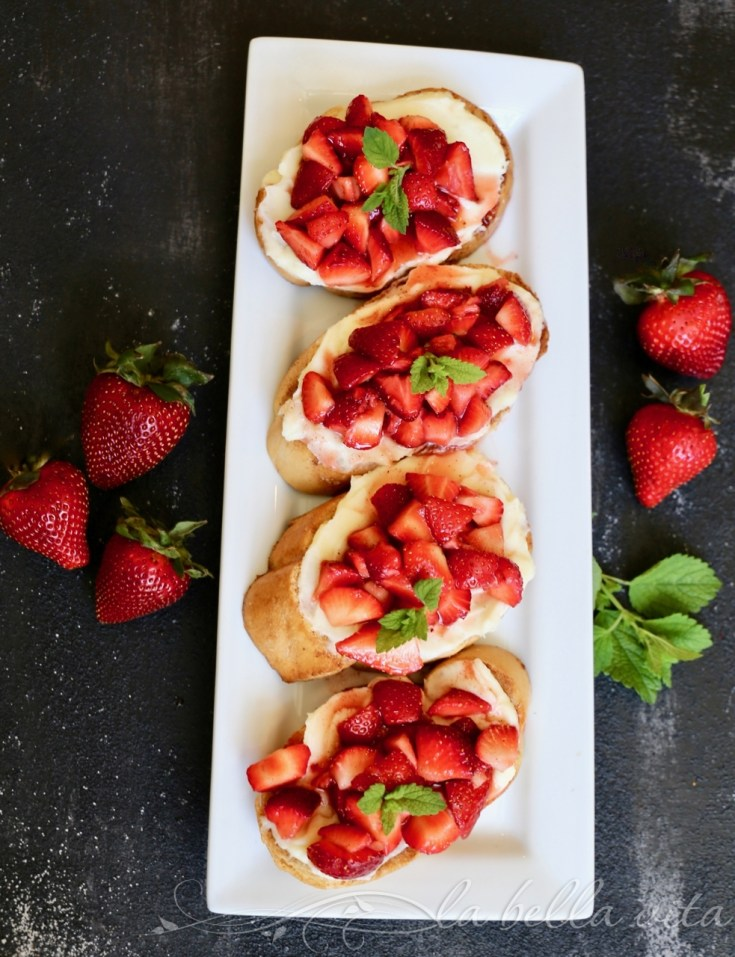 Strawberry and Mascarpone Cheese Crostini
