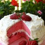 Strawberry Layer Cake and Sweet Mascarpone Cheese Frosting