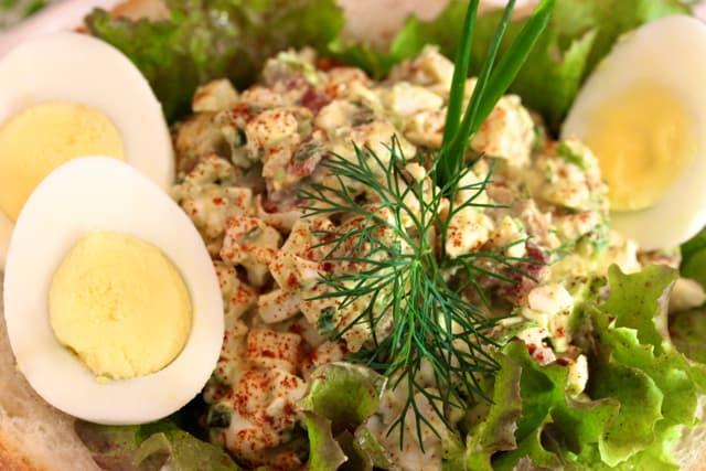 mediterranean egg salad gorgonzola green olives pancetta