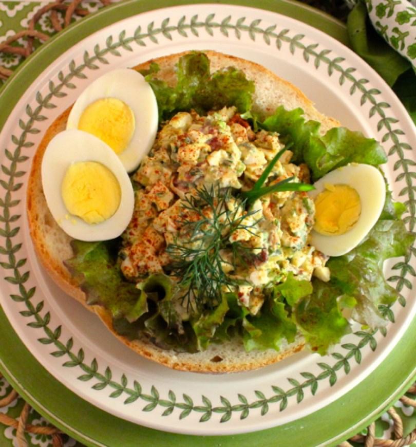 Mediterranean egg salad gorgonzola pancetta