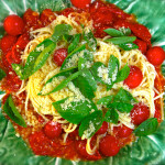 Pasta with Roasted Tomatoes, Garlic and Basil