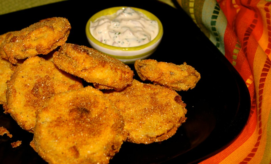 fried green tomatoes with bacon, garlic buttermilk sauce