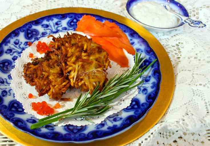 Best Ever Potato Latkes with Italian Herb Yogurt Sauce