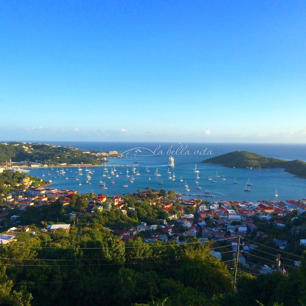 a stunning view from the top of the mountain on St. Thomas