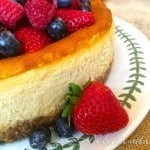 Italian Mascarpone and Ricotta Cheesecake with Raspberry Almond Crust