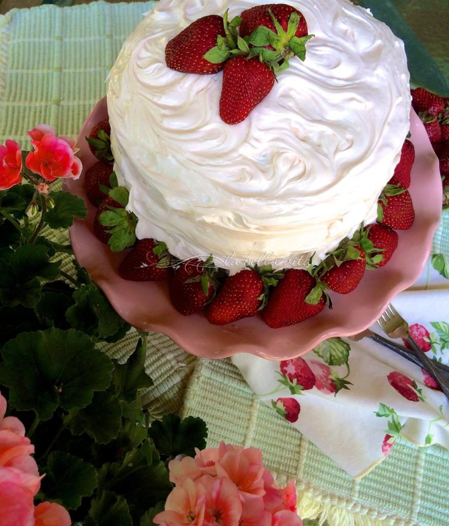 Strawberry Layer Cake with Italian Buttercream